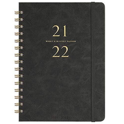 """2021-2022 Tagebuch - Wöchentliches und monatliches Tagebuch mit monatlichen Registerkarten, 6,3\""""x 8,4\"""", glattes Kunstleder und flexible Abdeckung, Juli 2021 - Juni 2022, Drahtgebunden, Grau"""