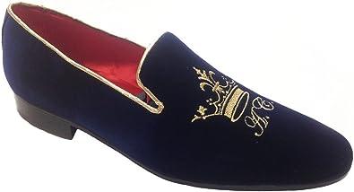 Garofalo Gianbattista Pantofole Slippers, in Velluto con Ricamo Corona e iniziali