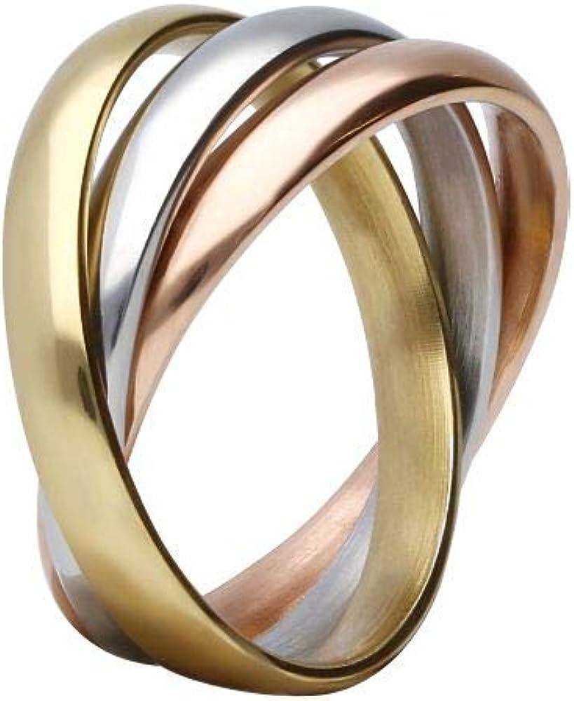 Stroili anello per donna in acciaio formato da anelli concatenati tricolore. 1666042