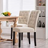 YEEFY Habit Solid Wood Tufted Parsons Dining Chair (Set of 2) (Gray)