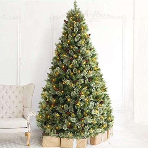 OasisCraft 6.5FT Pre-lit Christmas Tree - Carolina Pine Christmas Tree with 550 Warm Lights and Pine Cones, Xmas Tree for Holiday Indoor Decor (6.5FT)