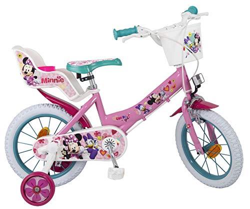 Bicicleta Toimsa Minnie de 14 para la edad de 4 a 6 años. Tiene porta