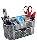 EasyPAG Mesh Desk Organizer 9 Components Office Accessories Pen Holder with Drawer, Silver