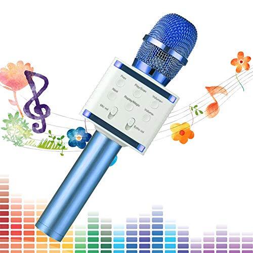 SaponinTree Micrófono Karaoke Bluetooth, 3 en1 Microfono Inalámbrico Karaoke Portátil para Niños Canta Partido Musica Compatible con Android/iOS PC (Azul)