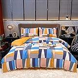 Cottonight Multicolor Duvet Cover Set Queen Patchwork Plaid Bedding Cover Set Full Geometric Abstract Blush Pink Blue Orange 100% Cotton Soft Breathable 3 Piece Duvet Cover Set