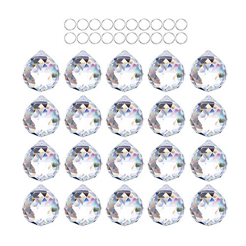 RMISODO 10 Pieces Hanging Ring Chandelier Glass Crystal Lamp Prism Drop Pendant for DIY Home Bedroom Living Dining Room Decoration