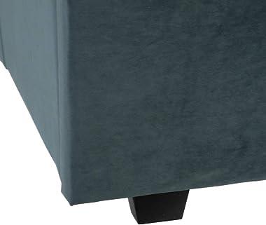 Lolahome Lit double en velours et bois bleu contemporain 160 x 200 cm