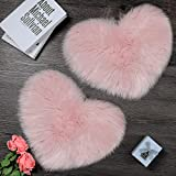 2 Pieces Fluffy Faux Sheepskin Area Rug Heart Shaped Rug Fluffy Room Carpet for Home Living Room Sofa Floor Bedroom, 12 x 16 Inch (Pink)