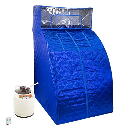 West Ivory Blue Portable Therapeutic Personal Steam Sauna Spa Room 2L Water Capacity with Headcover and Herb Box