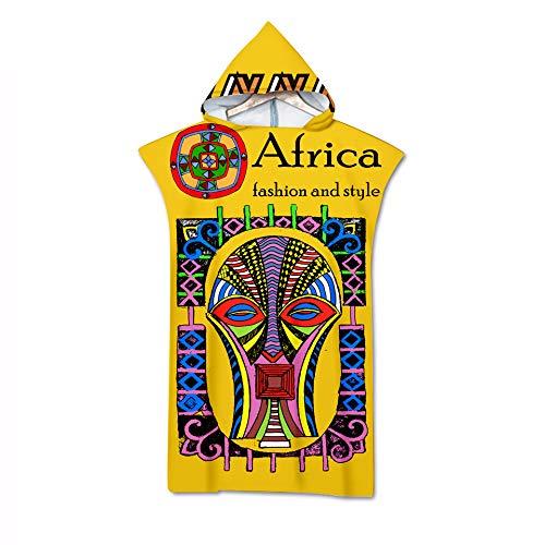 Hyjgjzjh Elements 3D doble cara impresión digital con capucha toalla de baño es suave y personalizada africana étnica (tamaño: 70 x 140, color: 4)