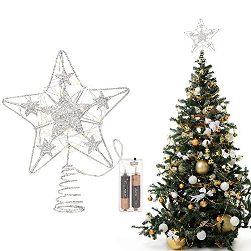 Belle Vous Weihnachten Deko LED Stern Beleuchtet - 24 x 22cm - Weihnachtsspitze Silber für den Christbaum - 3D Stern Metall - Baumschmuck Weihnachten mit 30 LED Lichtern (Batterien Nicht Enthalten)