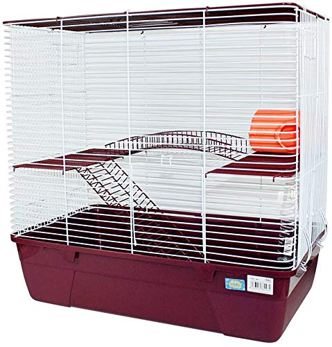 Jaula Hámster 2 Pisos con Escalera Jaula para Hamster Jaula jerbos Degus Jaula para pequeños roedores (Rojo)