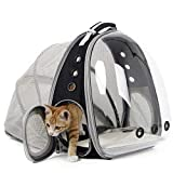 Expandable Cat Carrier Backpack, Space Capsule Transparent Bubble Pet Carrier for Small Dog, Pet Hiking Traveling Backpack (Black, Expandable Backpack - Clear)