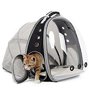 Expandable Cat Carrier Backpack, Space Capsule Transparent Bubble Pet Carrier for Small Dog, Pet Hiking Traveling Backpack (Black, Expandable Backpack – Clear)