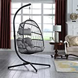XIAO WEI Egg Swing Chair Aluminum Frame for Indoor Outdoor Living Room Bedroom Hanging Egg Chair Patio Wicker Hanging Chair Hammock Chair with Stand and UV Resistant Cushion 350 Pound Weight