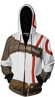 COSEASY Men's GoW White Warrior Kratos Zip up Hoodie Sweatshirt Cosplay Costume Adult Jacket Coat