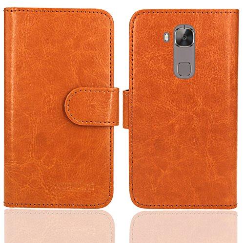 Huawei G8 / GX8 Handy Tasche, FoneExpert® Wallet Hülle Flip Cover Hüllen Etui Ledertasche Lederhülle Premium Schutzhülle für Huawei G8 / GX8 (Wallet Orange)