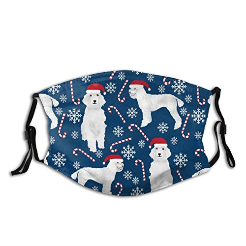 Poodle Peppermint Sticks Candy Canes Cute Poodles Washable Face Ma-sk Covering with Adjustable Ear Loops for Men Women Reusable Outdoor Dust Face Scarf