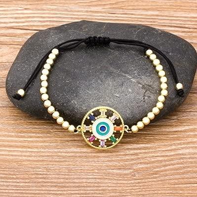 2021 Trendy Turkish Evil Eye Handmade Beads Bracelet Pave CZ Blue Eye Lucky Rope Bracelet Adjustable Female Party Jewelry Gifts