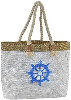 Bolsa de Playa/Capazo Grande, con Asas de Cuerda. Diseño Veraniego, con Estilo Marinero (45cm X 36cm X 14cm) - Hogar y Más - A