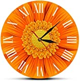 quanjiafu Reloj De Pared Primer Plano De Un Hermoso Reloj Desorativo Gerber Naranja con Números Romanos, Margaritas De La Naturaleza, Guirnalda Floral, Arte De Pared, Reloj De Pared Moderno-30X30Cm