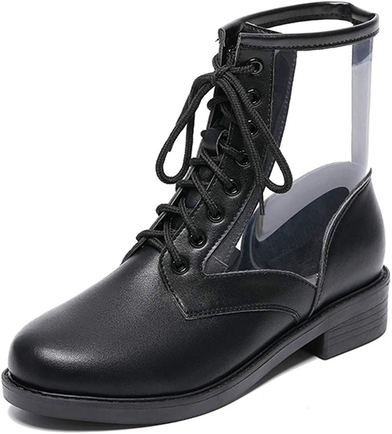 York Zhu Women's Ankle Boot,Lace Up Round Toe Transparent Martin Boots Short Boot