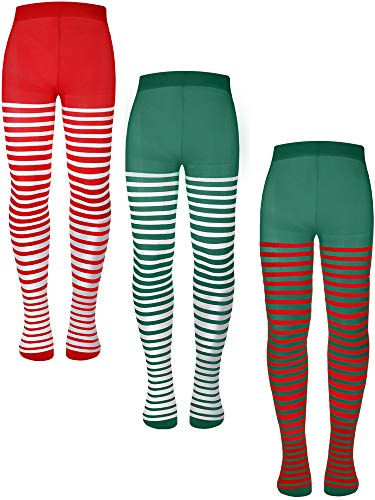 3 Pairs Children's Striped Tights Christmas Striped Tights Thigh High Costume Striped Socks