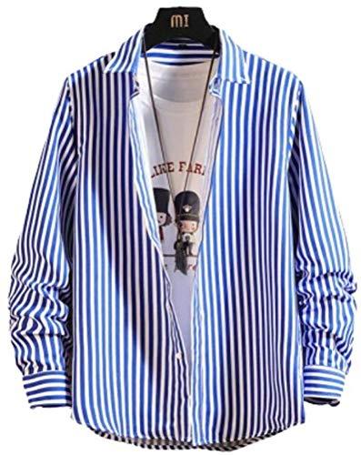 [アスペルシオ] 長袖 ストライプ シャツ メンズ スリーブ ナガソデ ながそで 長そで 袖あり そであり 通気性 快適 ワイシャツ Yシャツ tシャツ 襟付き 着まわし 通勤 ユッタリ ワイドカラー プリント ワイド ボタン カジュアルシャツ 柄シャツ