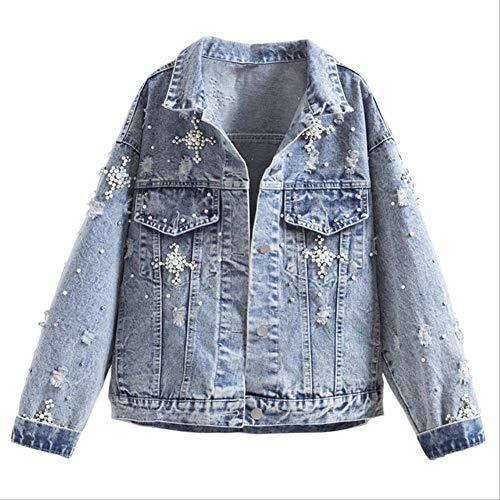 QXNZY Jacken Frauen Hellblaue Perle Perlen Schlanke Jeansjacken Mode Streetwear Jeans Mantel Jacke S Blau