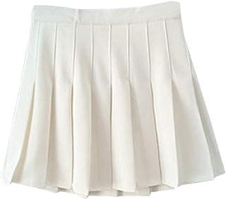feelingood Summer Women Mini Pleated Skirt High Waist School Girl Skater Tennis Shorts Skirts