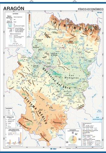 Mapa mural Aragón impreso a doble cara físico-económico / político-población envarillado, con colgadores y tubo 100 x 140 cm