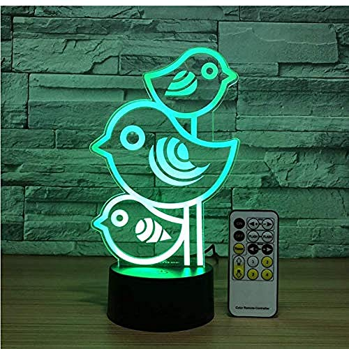 3D Illusion Night Light bluetooth smart Control 7&16M Color Mobile App Led Vision Kids Cute Birds Adjustable Beside Help Kids Fell Safe at colorful Creative gift