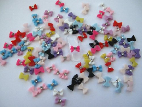 Nail Art 3d 120 Resin Mix Small Bows/Rhinestone for Nails, Cellphones .8cm by 3d nail art