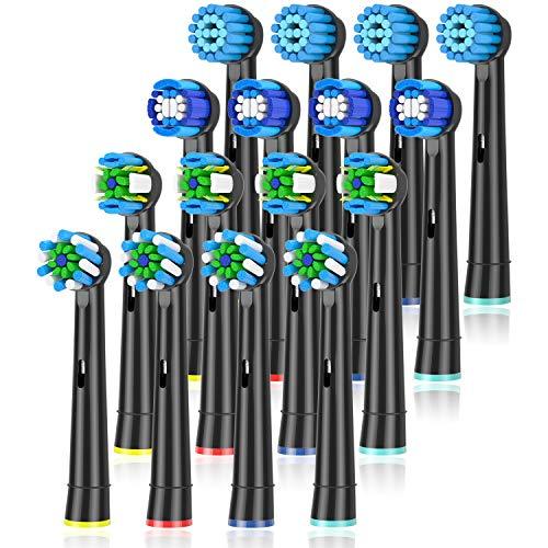 ITECHNIK 16er Schwarz Aufsteckbürsten für Oral B , 4er Sensitive Clean, 4er Precision Clean, 4er Tiefenreinigung, 4er Cross Clean Aufsätze, Kompatibel für Zahnbürsten Ersatzbürsten