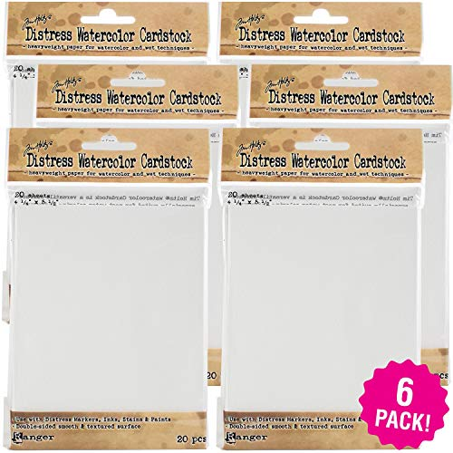 Tim Holtz Distress Watercolor Cardstock 6/Pkg, 4.25'X5.5' 6 Pack