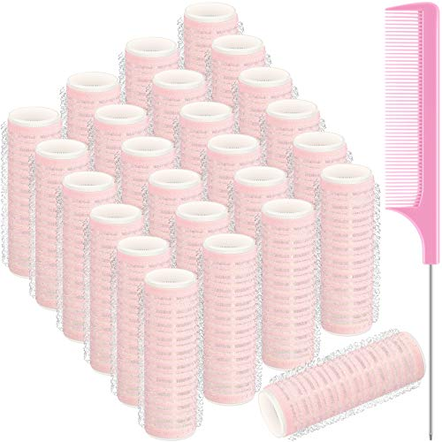 25 Pieces Small Size Hair Rollers Set, Includes 24 Pieces Self Grip Hairdressing Curlers Self Holding Rollers and Stainless Steel Pintail Comb Rat Tail Comb for DIY Hair Salon, Pink