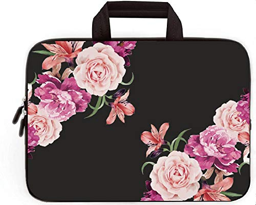 14 15 15.4 15.6 inch Laptop Handle Bag Computer Protect Case Pouch Holder Notebook Sleeve Neoprene Cover Soft Carrying Travel Case for Dell Lenovo Toshiba HP Chromebook ASUS Acer (Peony Flower)