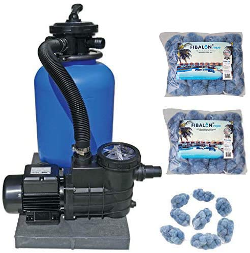well2wellness Pool Sandfilteranlage Poolfilter TOP 500 für Aufstellbecken und Pools bis 60 m³ Plus 2 x 350g Fibalon Rope