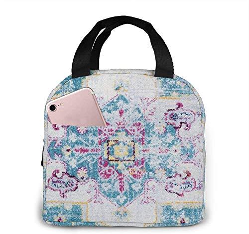 Fiambrera azul bohemia aislada reutilizable de la tela de la lona del bolso del almuerzo Fiambrera azul bohemia aislada para el trabajo, la escuela, el viaje y la comida campestre