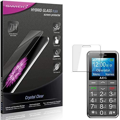 SWIDO Panzerglas Schutzfolie kompatibel mit AEG Voxtel SM250 Bildschirmschutz-Folie & Glas = biegsames HYBRIDGLAS, splitterfrei, Anti-Fingerprint KLAR - HD-Clear