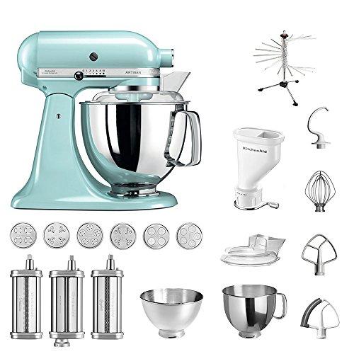 KitchenAid Küchenmaschine Artisan, 5KSM175PS, Pasta Paket inkl. TOP Zubehör: Nudelvorsatz mit 3 Walzen, Pastapresse (kurz) mit 6 Aufsätzen, Nudeltrockner und Standardzubehör (Eisblau)