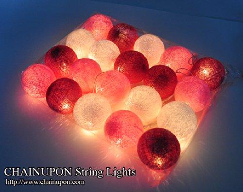 Guirnalda de luces LED, bolas de algodón tonos de rosa fucsia, la ...