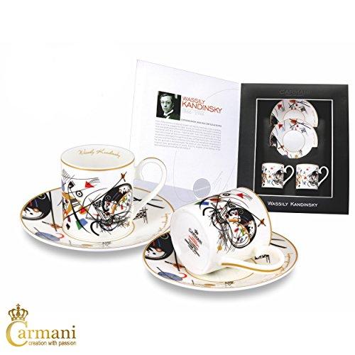Carmani - 2 parti set caffe espresso con Wassily Kandinsky'linea trasversale' 100ml