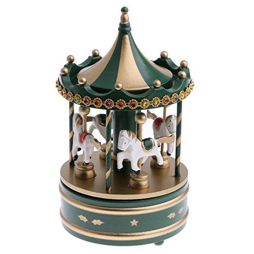 Carosello Carillon con Cavallo Set di Ornamenti di Movimento in Plastica in Legno Regalo di Casa di Natale Ideale per Bambina Ragazzo - Verde