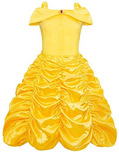 AmzBarley Bambina Principessa Belle Vestito Festa Cosplay Costume Ragazza Compleanno Partito Carnevale Halloween Abito Vestiti Abiti Amarillo 7-8 Anni 130