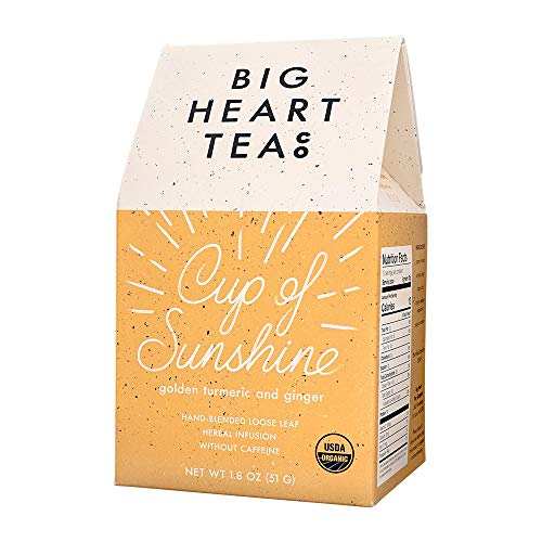 Big Heart Tea - Cup of Sunshine - Organic Loose Leaf Tea, Herbal Infused, Small Batch, Caffeine-Free, Supports Digestion, Boosts Immune System, Anti-Inflammatory (Golden Turmeric + Ginger, 1.8 ounces)