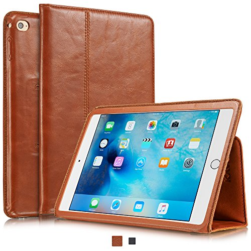 KAVAJ Lederhülle Berlin geeignet für Apple iPad Mini 4 Hülle Echtleder Case Cognac-Braun aus echtem Leder mit Stand & Auto Schlaf/Aufwachen Funktion. Dünnes Smart-Cover Schutzhülle