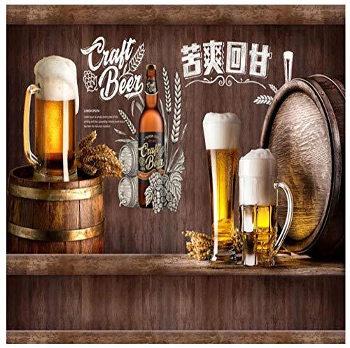 Muurbehang 3D creatieve retro nostalgische bier alfabet Chinese lettertekens vlies PVC restaurant bar achtergrond HD kunst wanddecoratie 400(w) x280(H) cm