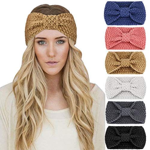 DRESHOW 6 Stück Damen Gestrickt Stirnband Winter Kopfband Haarband Stirnband Häkelarbeit Ohr Wärmer