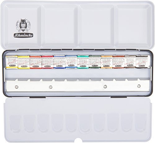 SCHMINCKE Watercolors, Metal Box Set of 12 Half Pans (74412097) by Schmincke